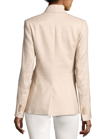 Linen-Blend Up-Collar Jacket, Beige