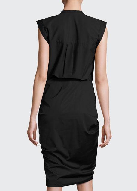 Sleeveless Ruched Poplin Shirtdress