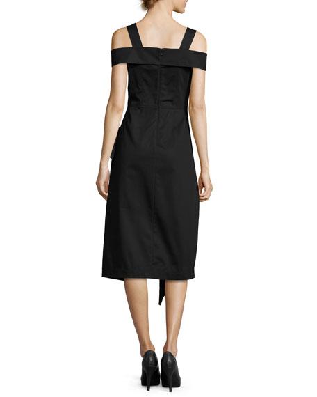 Cold-Shoulder Asymmetric Ruffle Midi Dress, Black