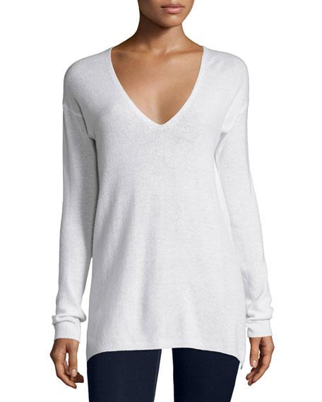 Joie Agnia Cashmere V-Neck Sweater, White