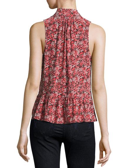e798e112a12989 Joie Estero Floral Silk Sleeveless Tie-Neck Blouse
