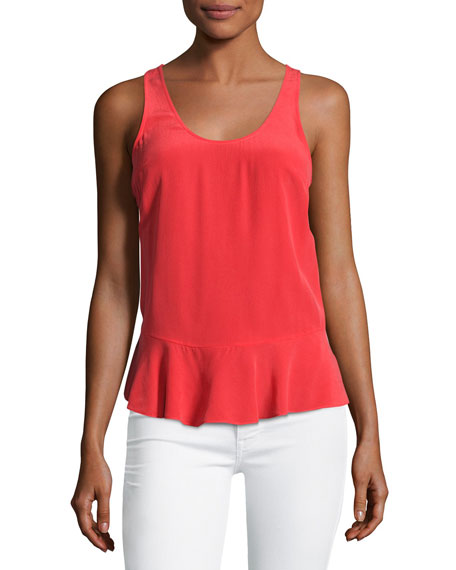 Cosma Silk Peplum Shell Top, Grenadine