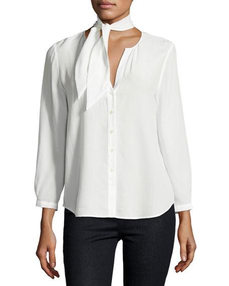 Nile Tie-Neck Silk Shirt, White