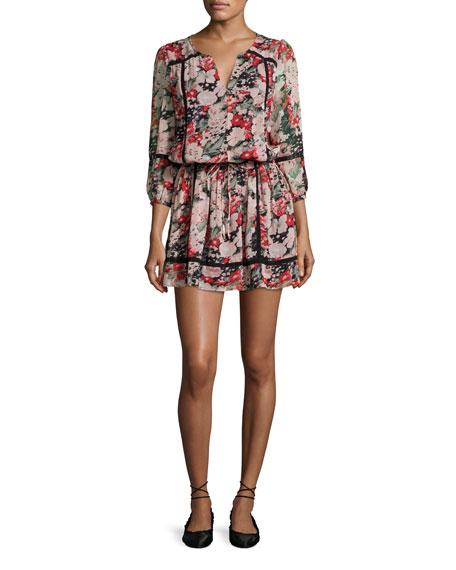 Eldora Floral-Print Silk 3/4-Sleeve Blouson Dress, Black