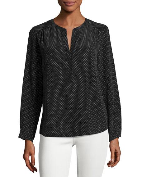 Carita Pin-Dot Silk Shirt, Black