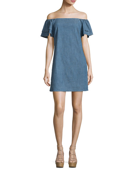Tula Off-the-Shoulder Chambray Shift Dress, Blue