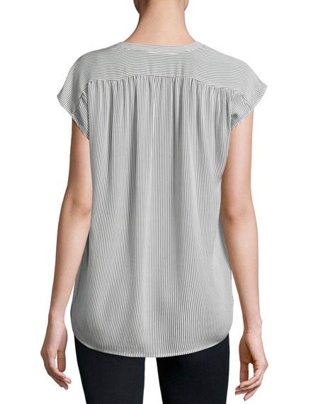 ea812170e7790 Joie Doshia Cap-Sleeve Striped Silk Shirt