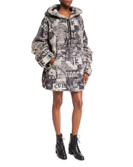 Hooded Oversized Faux-Fur Jacket, Gray