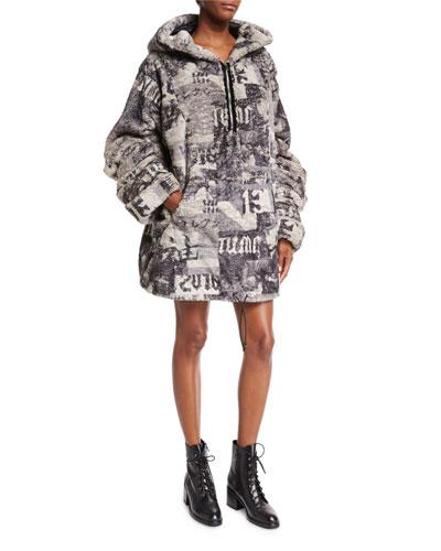 Hooded Oversized Faux-Fur Jacket, Gray