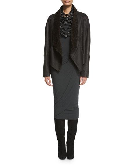 Long-Sleeve Slashed Jersey Top, Black