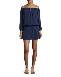 Kay Off-the-Shoulder Silk Blouson Dress, Blue