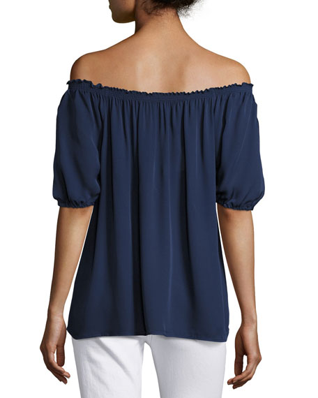 Kendal Off-the-Shoulder Silk Top, Blue