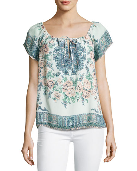 Taj Floral-Print Short-Sleeve Top, Blue/Orange