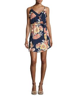 Foxglove Floral-Print Silk Wrap Dress, Blue/Multicolor
