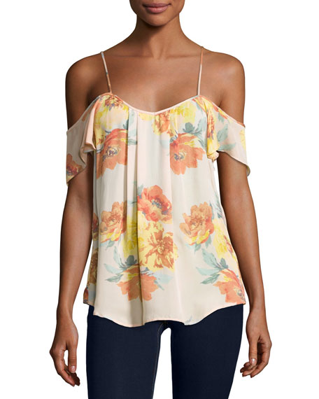 Adorlee Cold-Shoulder Floral-Print Silk Top, Orange