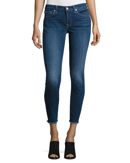 The Ankle Skinny Jeans with Raw Hem, Indigo