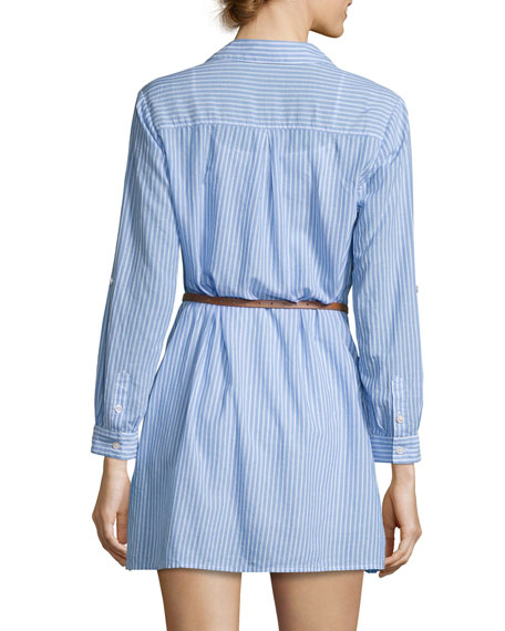 Sehun Striped Poplin Shirtdress, Blue/White