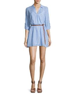 Sehun Striped Poplin Shirtdress, Blue/White