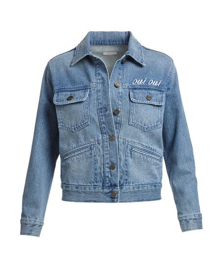 Runa Embroidered Denim Jacket, Blue