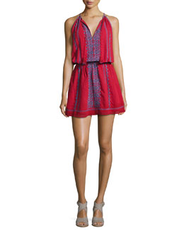 Picard Embroidered Sleeveless Blouson Dress, Red