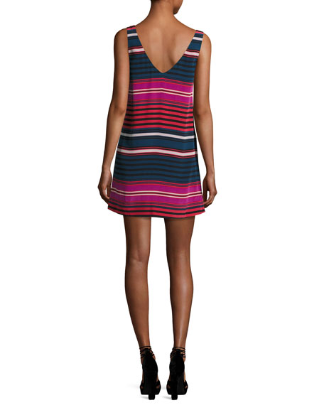 Dawna Striped Silk Tank Dress, Blue/Red/Pink