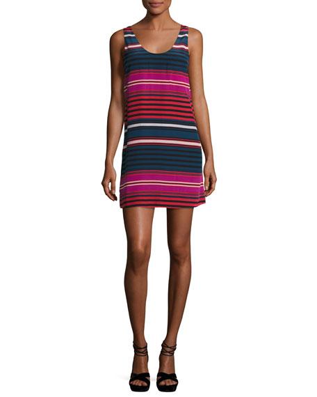Dawna Striped Silk Tank Dress, Blue/Red/Pink