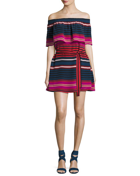 Joie Arla Striped Silk Off-the-Shoulder Mini Dress,