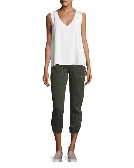 Dolorita Cropped Cargo Pants, Green