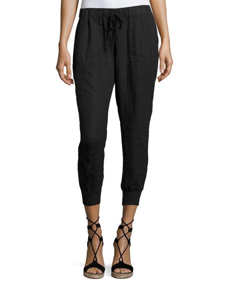 Joie Cynthia Linen Jogger Pants, Black