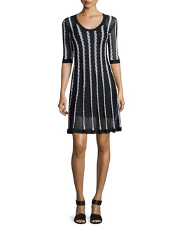 Half-Sleeve Scoop-Neck Striped Knit Dress, Black Pattern