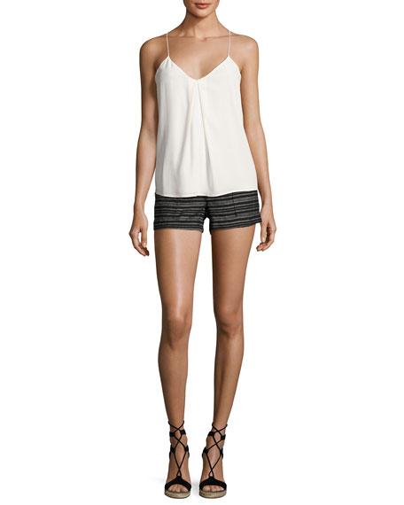 Chalina Striped Linen Shorts, Black Pattern
