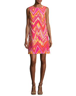 Sleeveless Retro Zigzag Silk Shift Dress, Multi