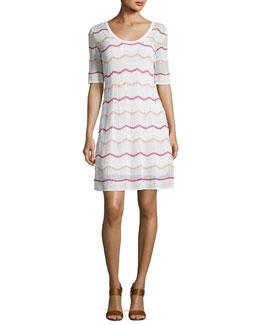 Short-Sleeve Zigzag Knit A-Line Dress, White Pattern