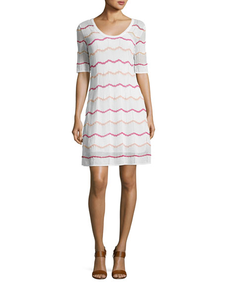 M Missoni Short-Sleeve Zigzag Knit A-Line Dress, White