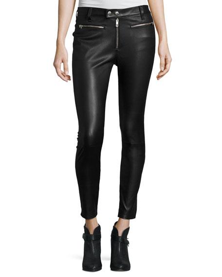 Ryder Leather Skinny Jeans, Black