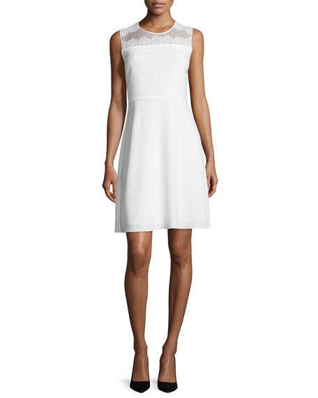 Bevin Sleeveless Lace-Yoke Dress, Pearl