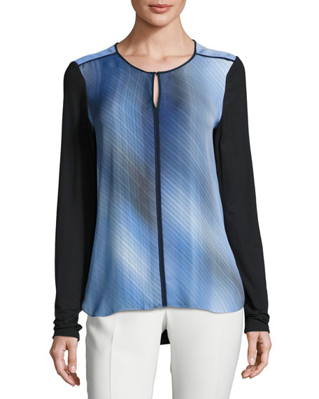Elie Tahari Amenia Colorblocked Fluid Silk Crepe Blouse,