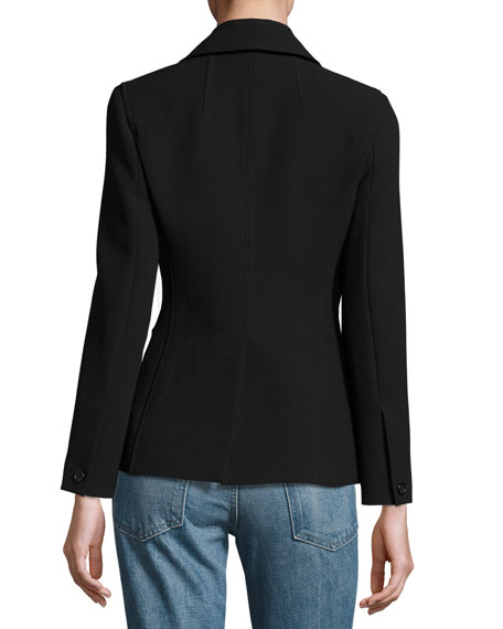 Asymmetric-Zip Suiting Jacket, Black
