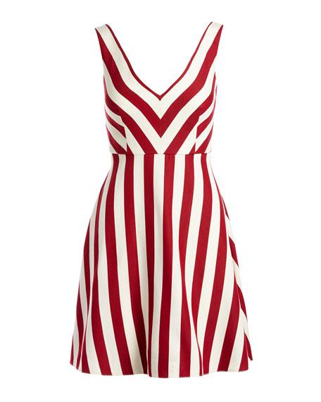 Sleeveless Striped Cotton-Blend Dress, Red