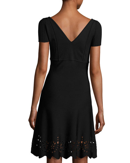 Short-Sleeve Scalloped Eyelet-Trim Dress, Black