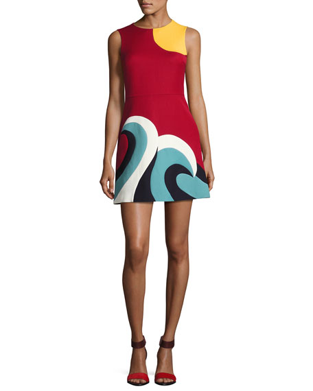 Sleeveless Intarsia Wave Cady Minidress, Red