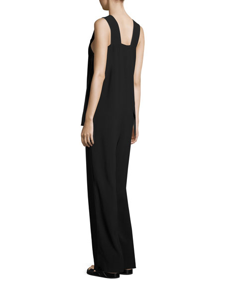 Sleeveless Crepe Apron Jumpsuit, Black