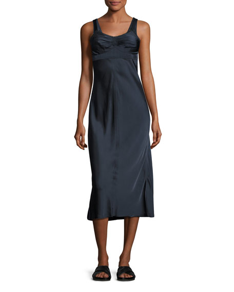 Helmut Lang Sleeveless Ruched Satin Slip Dress, Navy