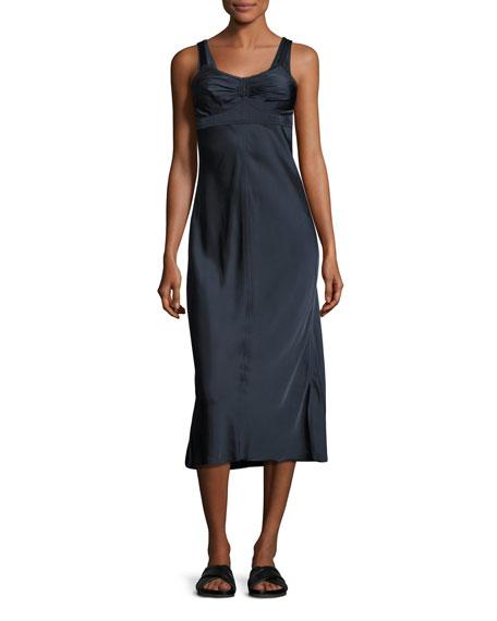 Sleeveless Ruched Satin Slip Dress, Navy