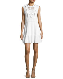 Sleeveless Crochet Cotton Dress w/ Embroidered Flowers, White