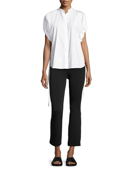 Drawstring-Sleeve Cotton Poplin Top, White