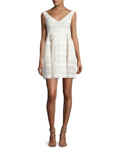 Sleeveless V-Neck Floral Macrame Dress, White