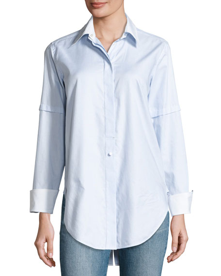 Long-Sleeve Convertible Striped Poplin Shirt, Light Blue