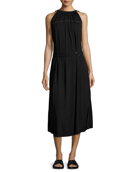 Shirred Jersey Midi Dress, Black