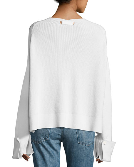 Ribbed Fluid V-Neck Pullover Sweater